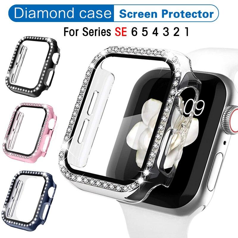 Чехол с кристаллами и бриллиантами с защитой экрана для Apple Watch серии 44 мм 6/5/4/SE, Ультратонкий защитный чехол с полным покрытием для iwatch