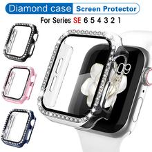 Kristall Diamant Fall mit Screen Protector für Apple Uhr 44mm Serie 6 5 4 SE Ultra-dünne Volle Abdeckung Schutzhülle für iwatch cheap CAOWTAN Kunststoff CN (Herkunft) Uhr Fällen