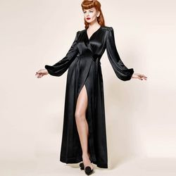 Free Shipping Your Majesty , Dita, Retro Luxury, Super Long Velvet, Satin Bathrobe, Nightgown robe dahlia XS-XL