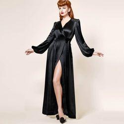 Freies Verschiffen Ihre Majestät, Dita, Retro Luxus, Super Lange Samt, Satin Bademantel, nachthemd robe dahlie XS-XL
