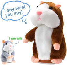 Muñeco de peluche de hámster parlante para niños, muñeco educativo de felpa de ratón parlante, sonido parlante, grabación hámster, 15 cm