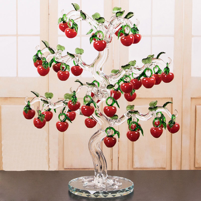 Glass Crystal Cherry Tree Figurines Crafts Fengshui Ornament Home Decor Christmas New Year Gifts Souvenirs Decor Ornament