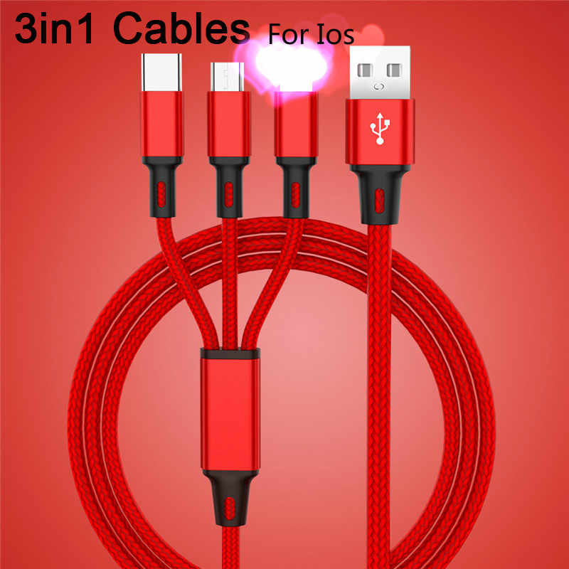 3 In 1 USB Cable On Lighting iPhone Micro Nokia Type C Xiaomi Note 7 Nylon Fast Charging Wire USB Cable On All Smart Phone