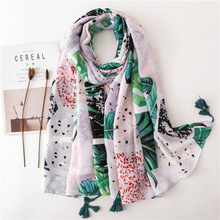 купить 2019 Floral Luxury Women Scarf Summer Spring Cotton Printing Shawls Luxury Brand Capes Poncho Women Head Scarf Hijab Pashmina онлайн