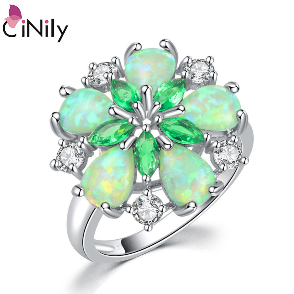 CiNily Luxury Green Fire Opal Stone Big Ring Silverpläterad Klar Vit - Märkessmycken