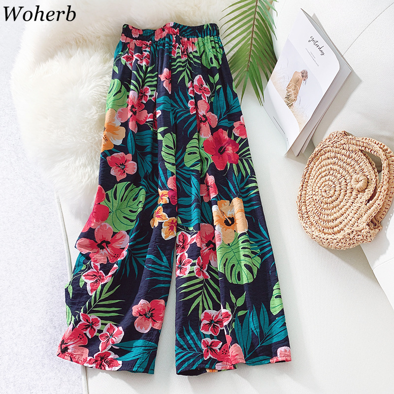 Woherb Casual Beach   Wide     Leg     Pants   Women 2019 Summer Thin Cotton and Linen Boho Floral High Waist   Pant   Ladies Plus Size Trousers