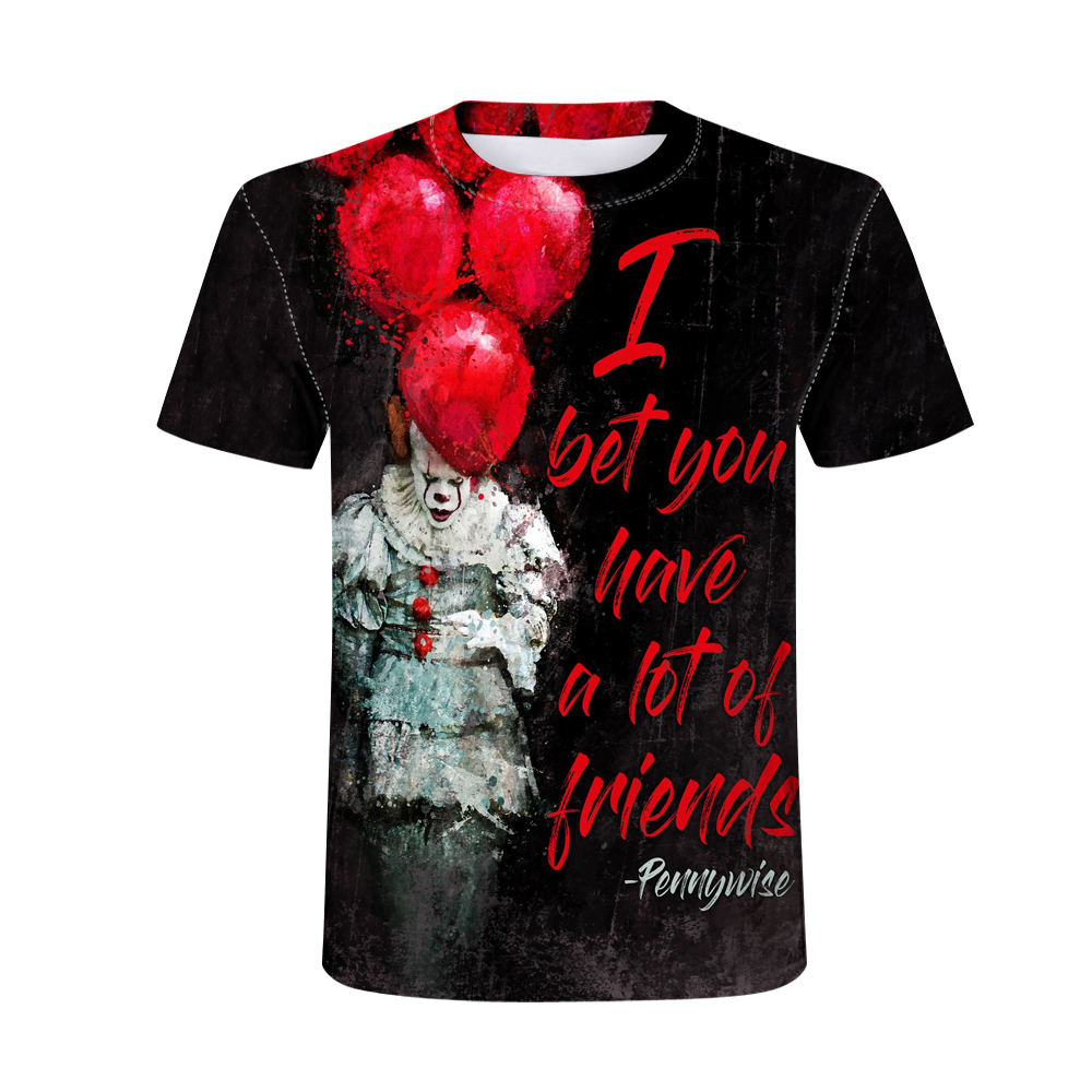 New Movie Pennywise Clown Stephen King Men Printed T-shirt Horror Movie T Shirts Homme Summer Fashion Hip Hop Cool Tee Tops image