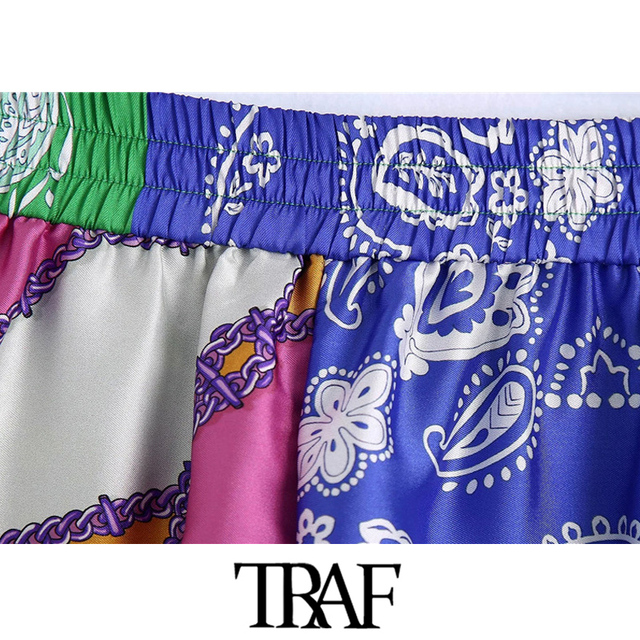 TRAF Women Chic Fashion Patchwork Printed Shorts Vintage High Elastic Waist With Drawstring Female Short Pants Mujer 6