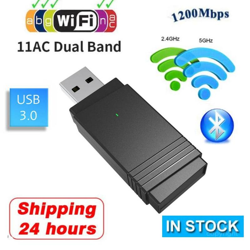 Driver -Free Dual Band <font><b>USB</b></font> 3.0 Wireless <font><b>USB</b></font> Wifi <font><b>Adapter</b></font> PC Network Card 5G/2.4G <font><b>USB</b></font> WIFI+Bluetooth 5.0 1200Mbps For Windows 10 image