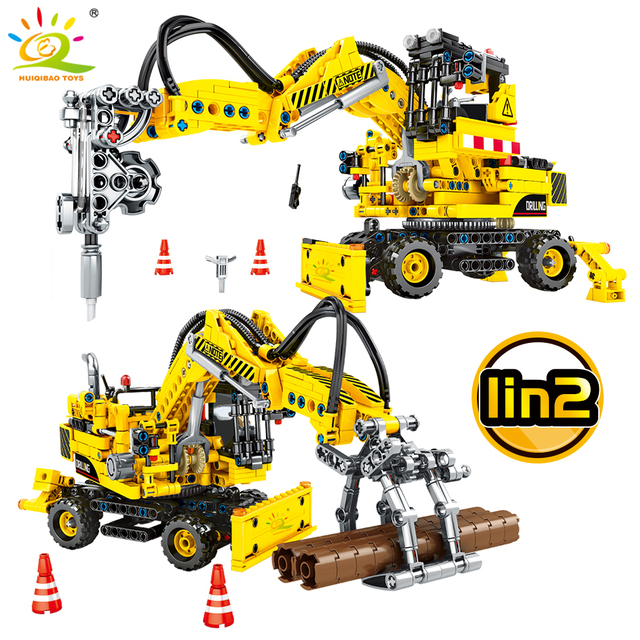 HUIQIBAO 715Pcs Mechanical Pile Driving Truck Building Blocks Technic Engineering Vehicle Car Figures Toys Children Two Modes