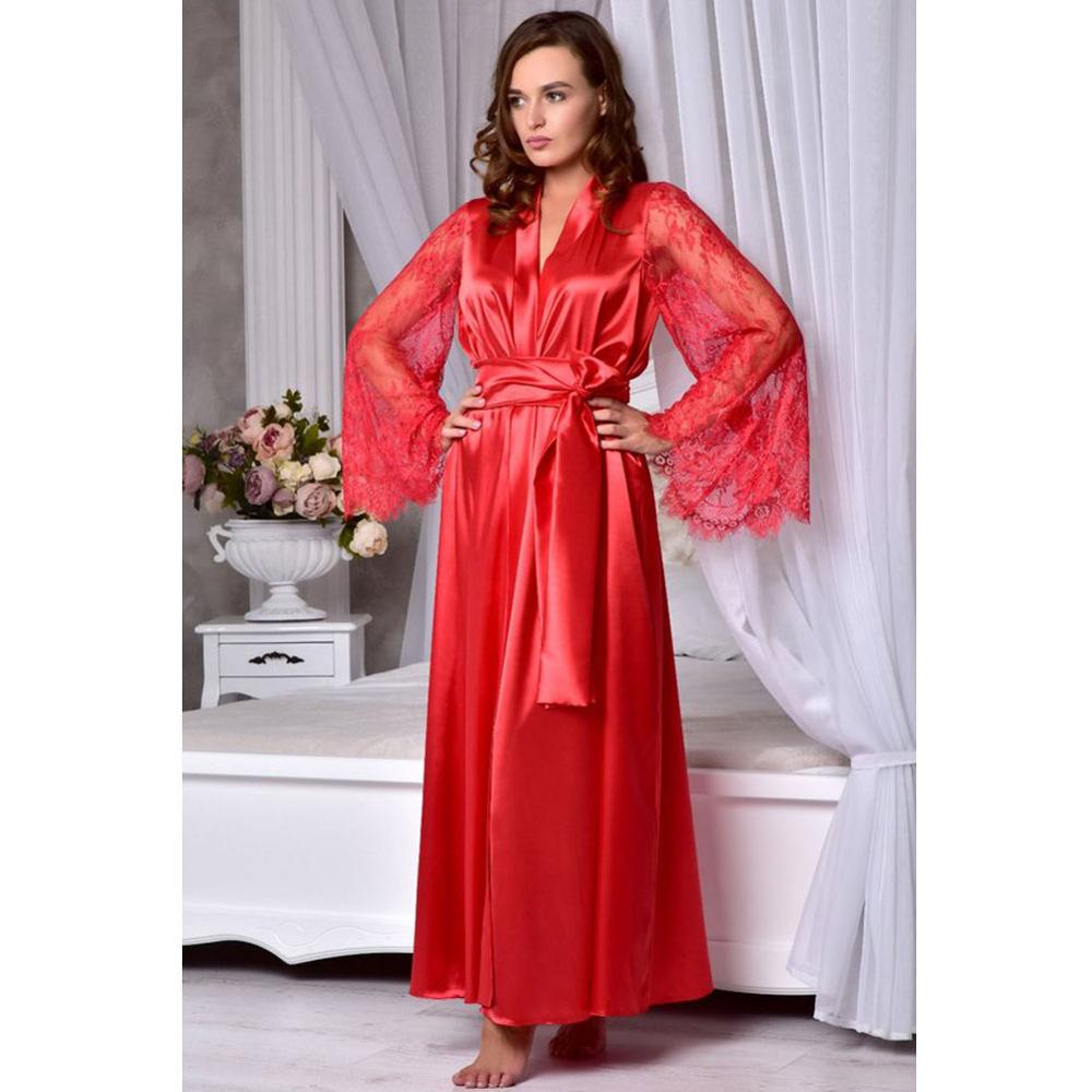 Summer Women Satin Sleepwear Robes Women Casual Solid V-Neck Lace Patchwork Long Sleeve Lace Up Loose Sleepwear Robes