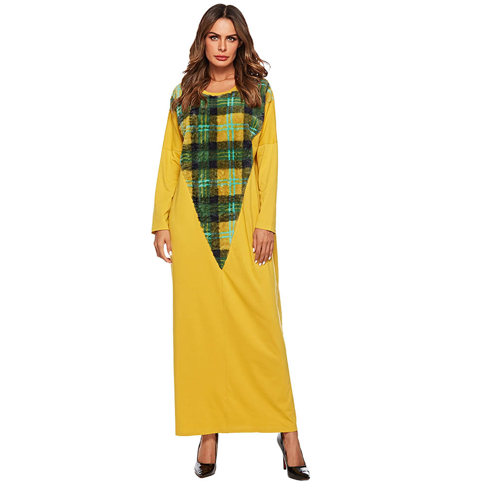 Muslim Abaya Dress Women Plaid Kimono Jilbab Jubah Elbise Islamic clothing Turkey Dubai Arab Moroccan Kaftan Maxi Hijab Vestidos image