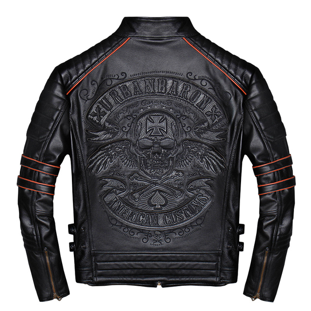 Spring Autumn Genuine Leather Jacket Men Embroidered Skull Casual Motorcycle Jacket Chaquetas Hombre Clothes Korean 2021 WPY2482 5