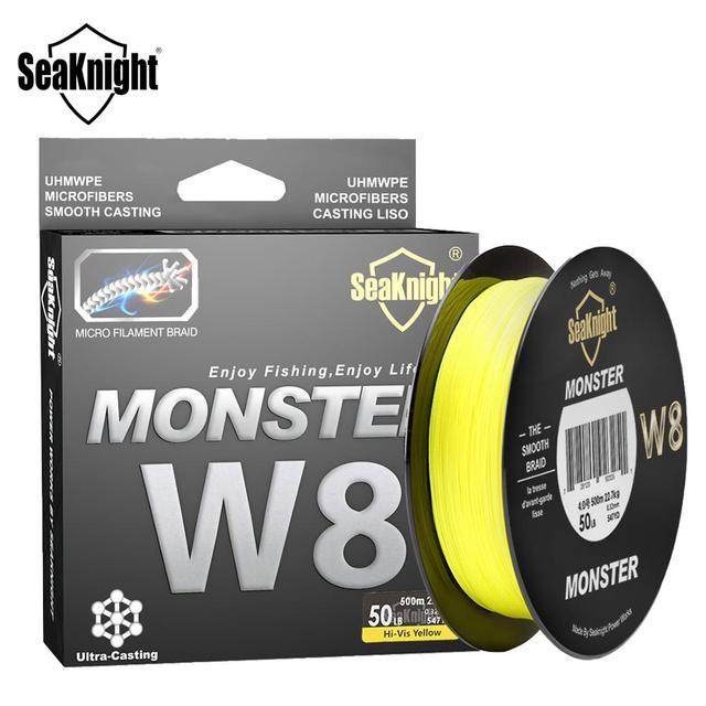 Seaknight marca ms w8 série 8 fios 500m ultra fundição trança linha de pesca suave super linha multifilamento pe linha 15 100lbs