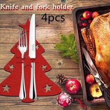 Bolsa de cuchillos de árbol de Navidad, cubierta roja de tela no tejida para polvo, vajilla, vajilla, Decoración de mesa de Navidad, 4 Uds.