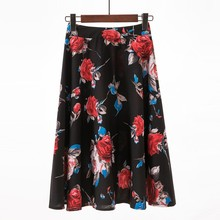 DeRuiLaDy 2019 New Women Floral Print Knee-Length Skirt Womens Slim Office Skirts Casual Slim Pleated Skirt plus size