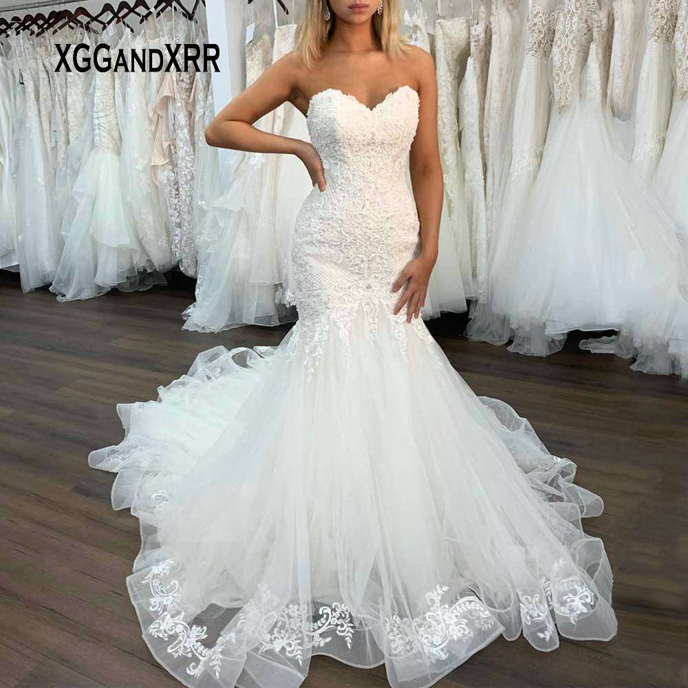 Elegant Mermaid Lace Wedding Dress 2020 Sweetheart Off Shoulder Backless White Ivory Wedding Formal Bridal Gown Plus Size