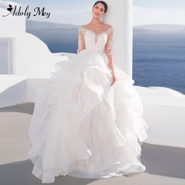 Adoly Mey Luxury Scoop Neck Beading Illusion Back A-Line Wedding Dress 2021 Ruched Tulle Long Sleeve Appliques Boho Wedding Gown 1