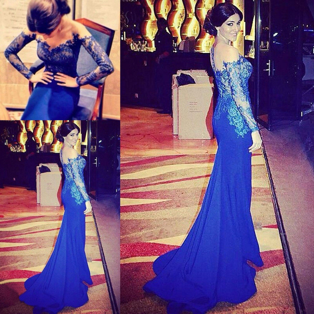 Robe De Soiree Top Lace Illusion Sexy Long Sleeve Royal Blue Lace Mermaid Evening Prom Gown 2018 Mother Of The Bride Dresses