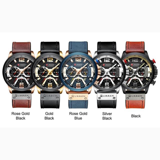 CURREN Mens Watches Top Brand Luxury Leather Sports Watch Men Fashion Chronograph Quartz Man Clock Waterproof Relogio Masculino 6
