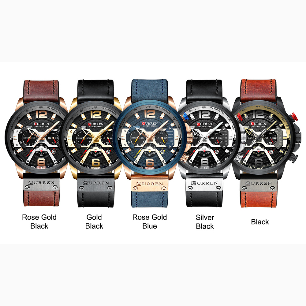 CURREN Mens Watches Top Brand Luxury Leather Sports Watch Men Fashion Chronograph Quartz Man Clock Waterproof Relogio Masculino