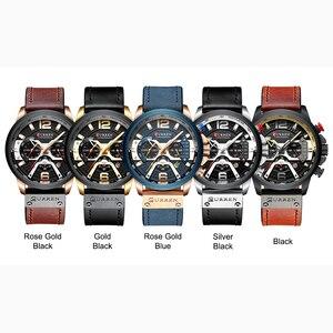 Image 5 - CURREN Mens שעונים למעלה מותג יוקרה עור ספורט שעון גברים אופנה הכרונוגרף קוורץ גבר שעון עמיד למים Relogio Masculino