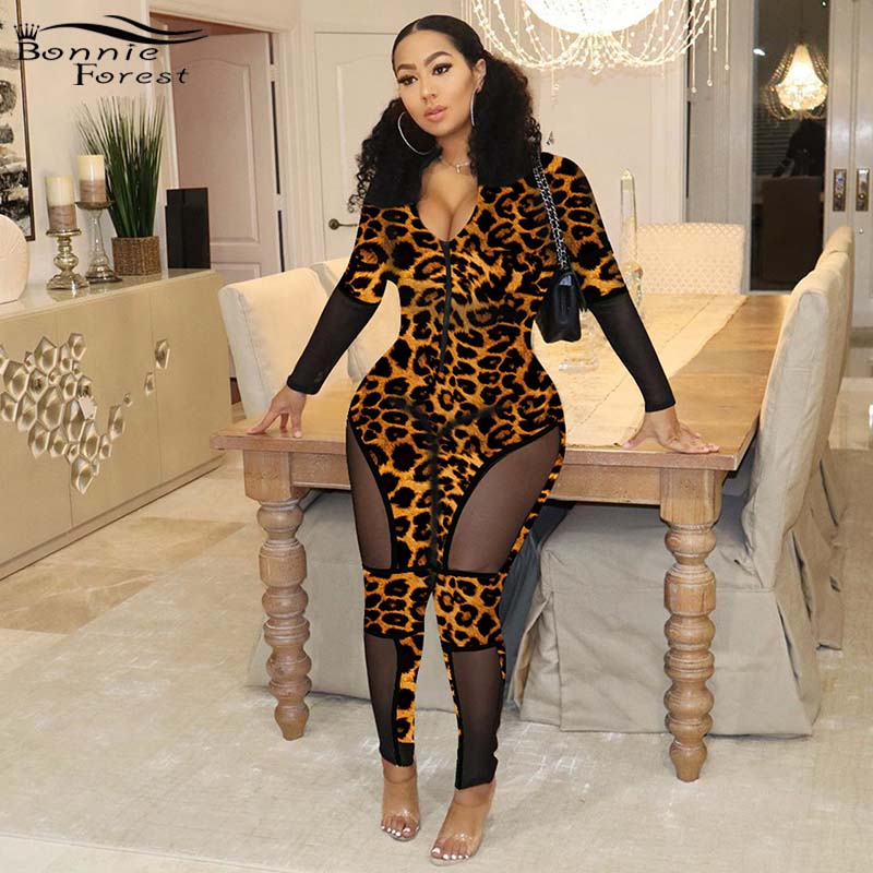 Bonnie Forest Women Mesh Patchwork Leopard Print Jumpsuit Sexy Hollow Out Zip Up Skinny Romper Night Out Overalls Plus Size