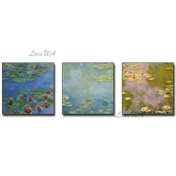 Famous Monet Lotus Flower Oil Painting Reproduction Real Handmade Canvas Wall Picture Art Entrance Home Decoration Wall Hangings