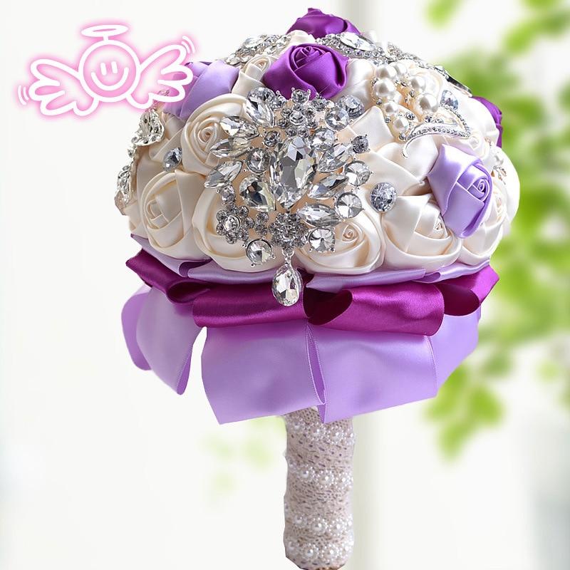 Stunning Brooch Wedding Bouquet Satin Roses Bridal Bouquets Rhinestone Handle Brooches Bouquet Crystal Wedding Bouquet