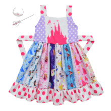 Bebê menina neve branca princesa desenhos animados imprimir costura sem mangas twirl vestido de natal