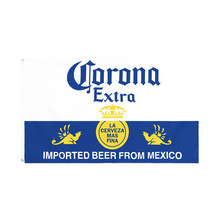 Wn 60x90 90x150cm azul amarelo e branco corona extra cerveja bandeira para decoração