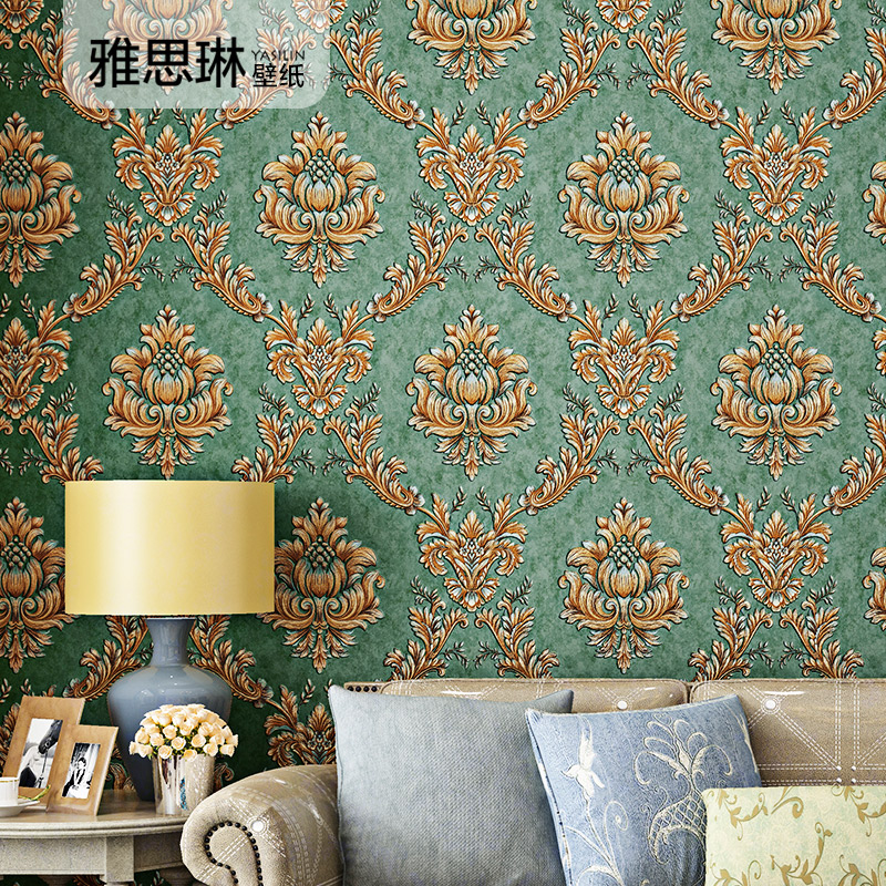 High Quality European Damascus Wall Paper 3D Luxury Living Room Bedroom Home Decor TV Background Non-woven Wallpaper