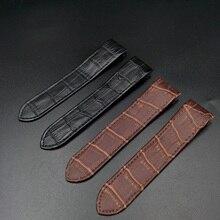 цена Genuine Leather Watch band for Cartier Santos 20mm 23mm Cow Leather Watch Strap онлайн в 2017 году