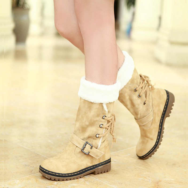 Women Mid Calf Boots Woman Suede Buckle Strap Ladies Lace Up Snow Boot Warm Fur Plush Women's Chunky Heels PlusSize Female Shoes