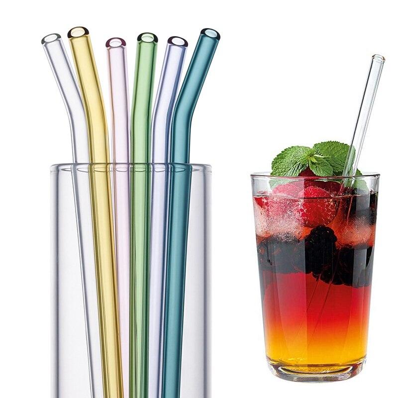 Многоразовые стеклянные соломинки для напитков, 8 цветов, экологически чистая Высококачественная боросиликатная стеклянная соломинка для ...