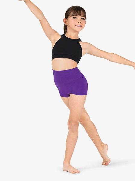 Children Basic High Waist Dance Shorts Dancewear Team Competition Shorts  Gymnastics Spandex Nylon Workout Exercise Shorts