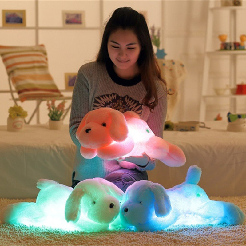 Colorful Luminous Teddy Dog LED Light Plush Pillow Cushion Kids 1