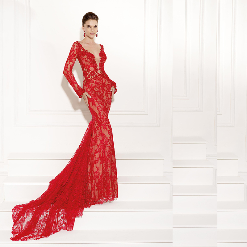 Formal Dress Women Elegant Robe De Soiree 2018 V Neck Long Sleeve Red Lace Evening Prom Gown Mother Of The Bride Dresses