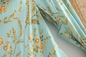Image 5 - Đầm sang trọng nữ xanh in hoa tay cánh dơi Rayon bãi biển Bohemia Áo choàng kimono Nữ cổ V tất Boho Đầm vestidos
