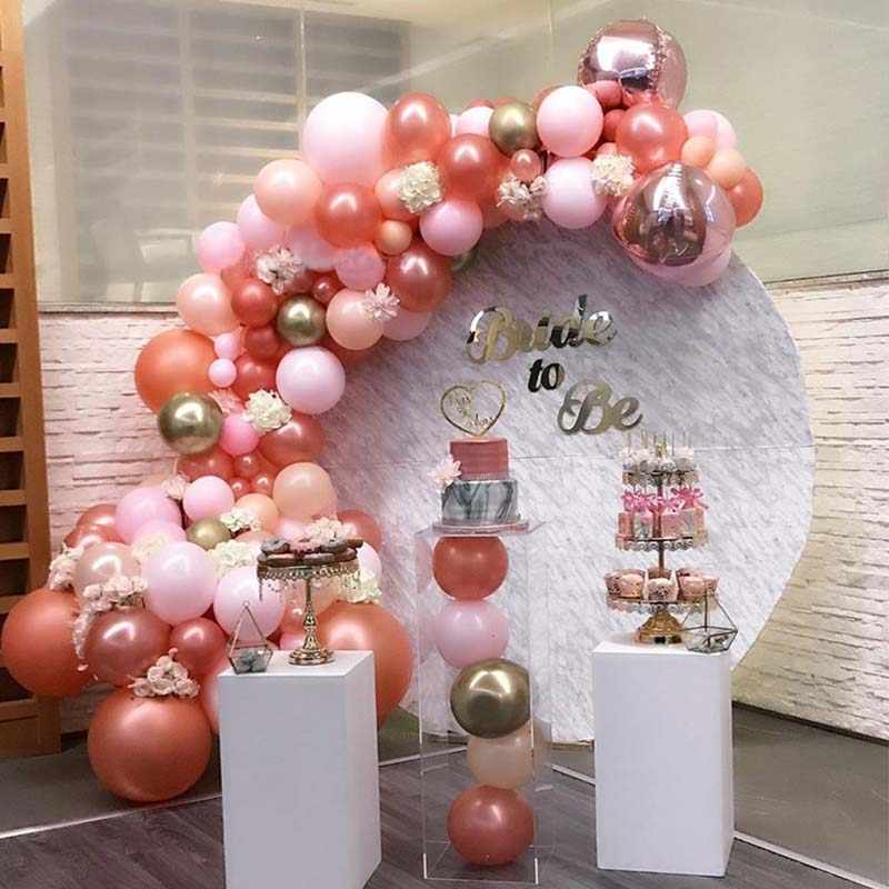 91pcs pastel Rose Gold Macaron Pink Latex Balloon Garland Arch Kit For Bride To Be Birthday Party Decoration 4D Foil Balloons