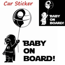 Black/White Cool Boy Funny Car Sticker Star Wars BABY ON BOARD in Car Warning Reflective Vinyl Window Wall Home Decal hot car styling baby in car warning sticker rear window cute boy baby on board diy reflective car decal black white