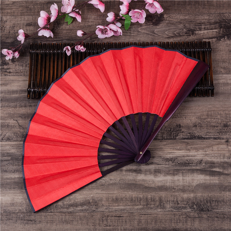 DIY Chinese Japanese Plain Color Bamboo Large Rave Folding Hand Fan Event Home Party Supplies For Men/Women Dropshipping H