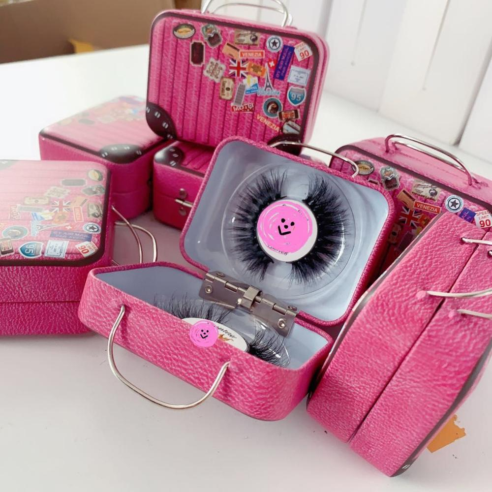 New design 3D mink eyelash packaging case small suitcase packaging(China)