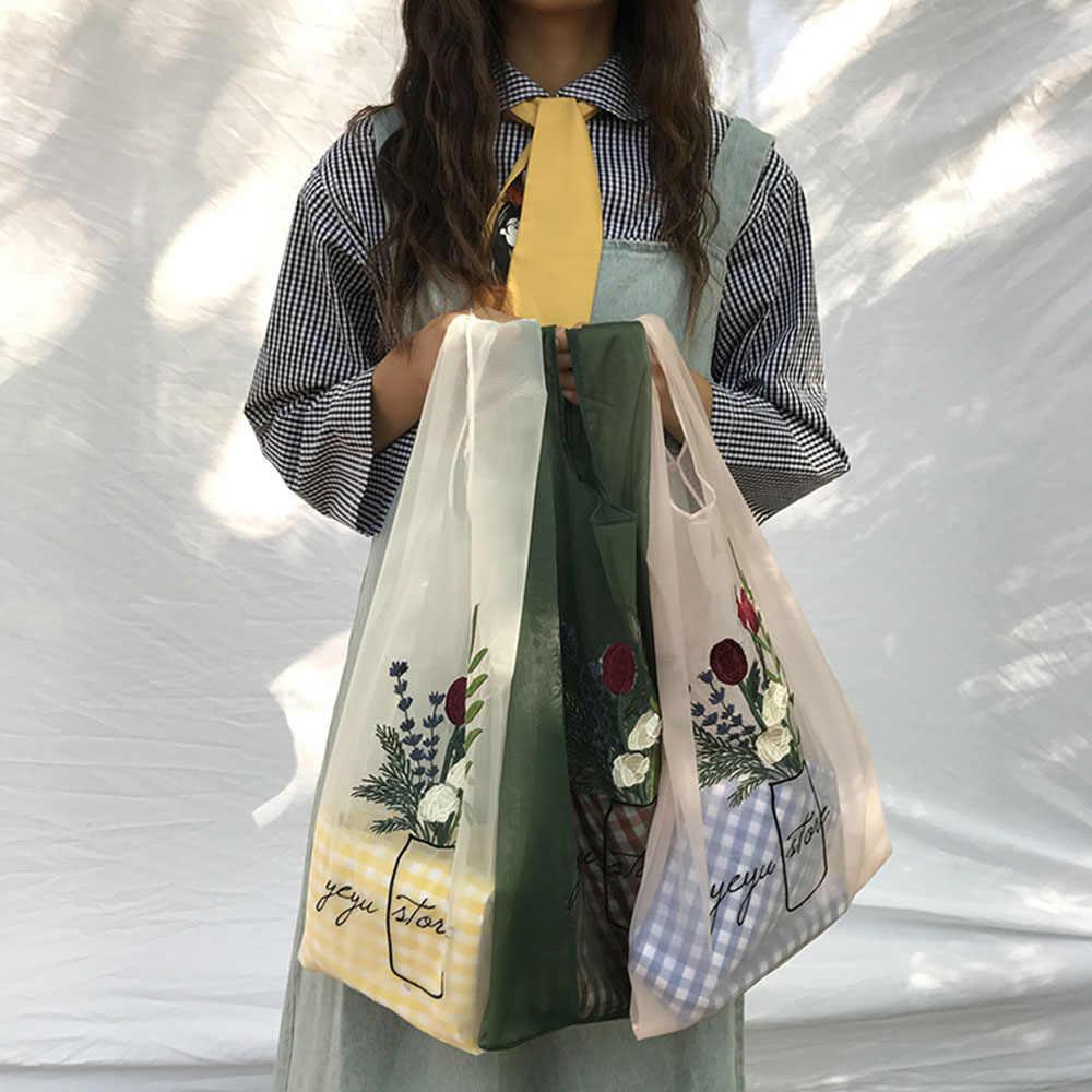 Mulheres Tote Transparente Organza Fios de Pano Bolsa de Praia Bordados Bolsa de Alta Qualidade Claro Eco Sacos de Mão Bolsa Para Meninas