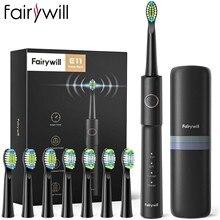Fairywill – brosse à dents électrique sonique E11, étanche, Rechargeable par USB, 8 têtes de rechange pour adulte