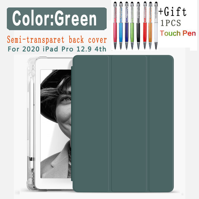 Green-12.9 4th Other For iPad Pro 12 9 2020 semi transparent back Case with pencil holder case for Apple
