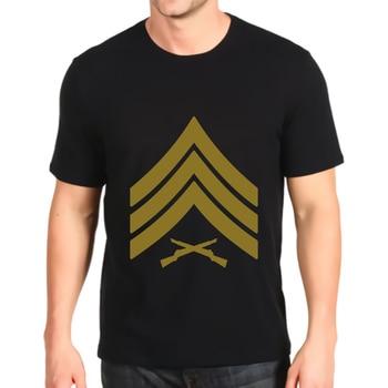 new printed t-shirt  sergeant sgt rank marines mision militar  customization short-sleeved fashion Loose Top mens
