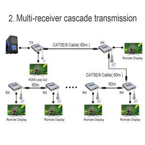 Image 5 - Hdmi 2.0 4 k 60 hz 60 m hdmi extensor 1080 p 120 m sobre rj45 ethernet lan cat5e cat6 cabo conexão em cascata extensão pc dvd para tv