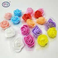 Plants 100pcs/lot 2.5cm Foam Rose Artificial Flower Head Wedding Festival Decoration Flowers Diy Scrapbooking Fake New Arrival
