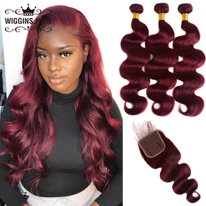 Wiggins 99j Burgundy Bundles With Closure Brazilian Body Wave 12 14 16 18 20 22 24 inch 3 Bundles With Closure Remy Human Hair